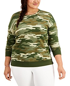 Plus Size Camo-Print French Terry Sweatshirt, Created for Macy's