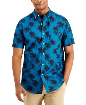 Men's Regular-Fit Palm-Print Shirt