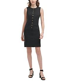 Petite Solid Button-Front Sheath Dress