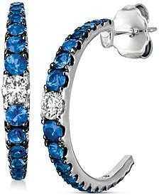 Cornflower Ceylon Sapphire™ (1 ct. t.w.) & Vanilla Diamond (1/5 ct. t.w.) C-Hoop Earrings in 14k White Gold