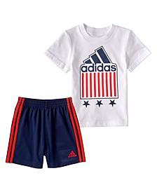 Little Boys 2-Pc. Logo T-Shirt & Striped Shorts Set