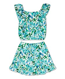 Big Girls Floral Skirt, 2 Piece Set