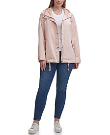 Trendy Plus Size Hooded Rain Jacket