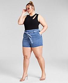 Trendy Plus Size Asymmetrical Sleeveless Bodysuit, Created for Macy's