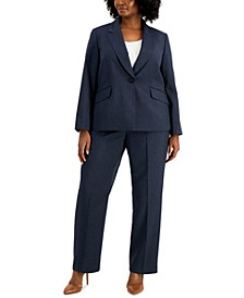 Plus Size One-Button Denim Pantsuit