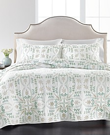 Embroidered Tile 100% Cotton King Quilt, Created for Macy's