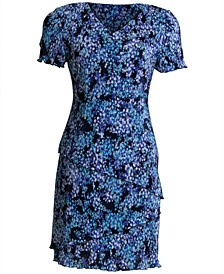 Pleated Floral-Print Tiered Dress