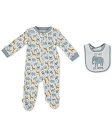 Baby Boys Printed Cotton Coverall & Bib Set