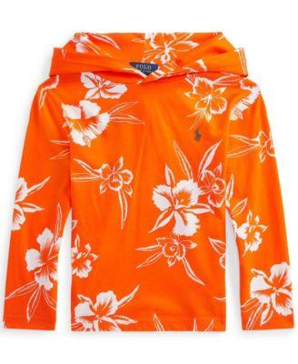 폴로 랄프로렌 Polo Ralph Lauren Little Boys Floral Print Jersey Hooded T-shirt,Iling Orange Pacific