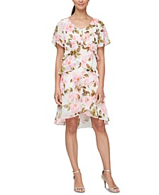 Floral-Print Tiered Chiffon Dress