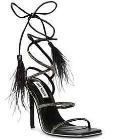 Women's Upgrade Rhinestone Ankle-Strap Feathered Dress Sandals