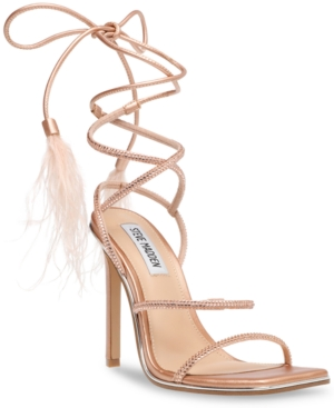 Steve Madden Lace-ups WOMEN'S UPGRADE RHINESTONE ANKLE-STRAP FEATHERED DRESS SANDALS