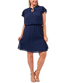 Plus Size Smocked-Waist Tiered Chiffon Dress