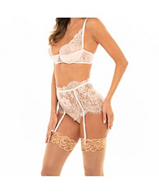 Women's Padded Satin Shelf Cup with Overlay Lace and Matching Skirtini Bottom