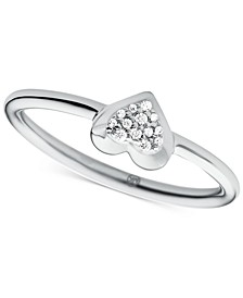 Sterling Silver Pavé Heart Statement Ring