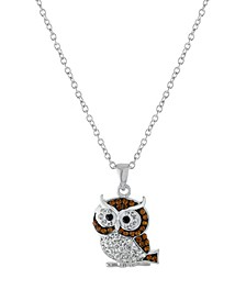 """Crystal Owl Pendant 16+2"""" Extender In Fine Silver Plated"""