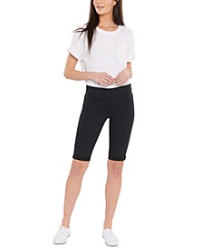Tummy-Control Pull-On Denim Shorts