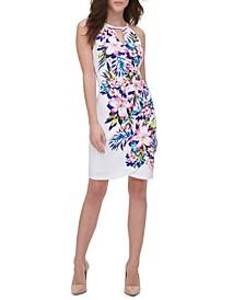 Printed Keyhole Sheath Dress