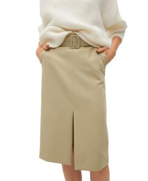 Mango Women's Pencil Belt Skirt In Light Beige