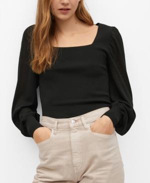 Mango Women's Puffed Sleeves Top In Black