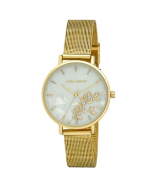 Women's Engraved Floral Printed Gold-Tone Alloy Mesh Band Watch 34mm