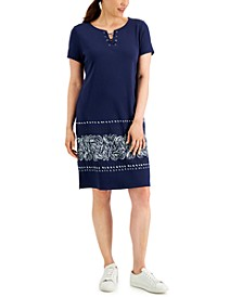 Border-Hem Lace-Up Dress, Created for Macy's