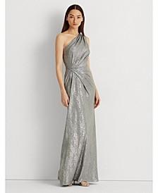 Metallic One-Shoulder Gown