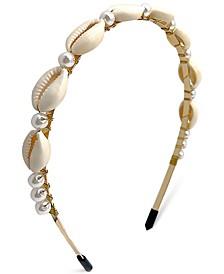 INC Gold-Tone Imitation Pearl & Puka Shell Headband, Created for Macy's