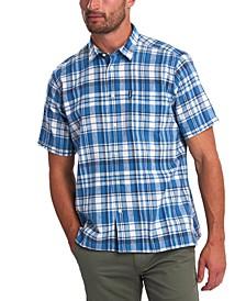 Men's Tailored-Fit Textured Tattersall Plaid Shirt