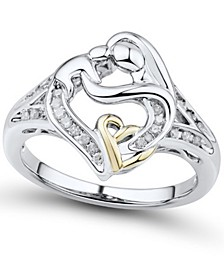 Diamond Mother & Child Ring (1/7 ct. t.w.) in Sterling Silver & 14k Gold