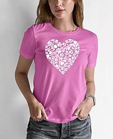 Women's Word Art Paw Prints Heart T-Shirt