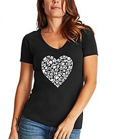 Women's Word Art Paw Prints Heart V-Neck T-Shirt