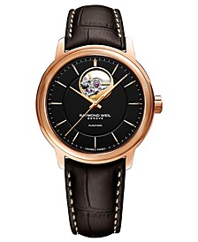 Men's Swiss Automatic Maestro Brown Leather Strap Watch 39mm