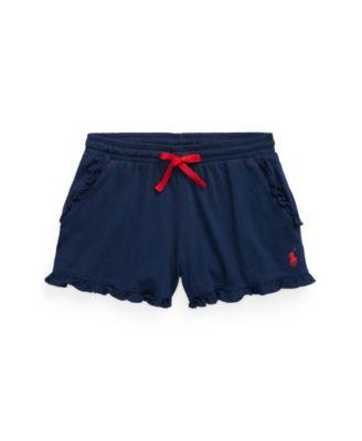 폴로 랄프로렌 Polo Ralph Lauren Big Girls Ruffled Jersey Shorts,Newport Navy
