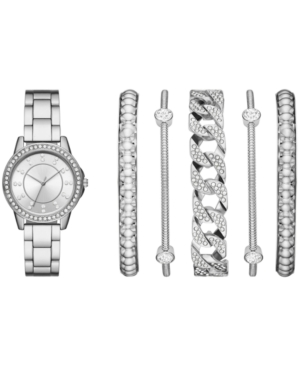 Women's Silver-Tone Bracelet Watch 35mm Gift Set