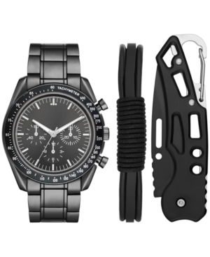 Men's Gunmetal-Tone Bracelet Watch 46mm Gift Set