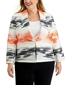Plus Size Printed Jacquard Winged-Collar Blazer