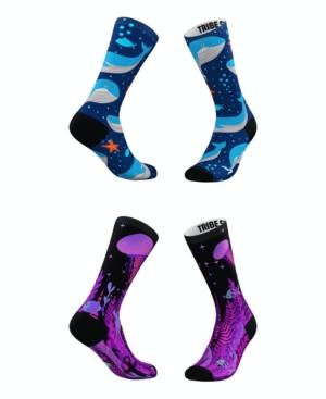 Tribe Socks MEN'S AND WOMEN'S DEEP BLUE SEA SOCKS, SET OF 2
