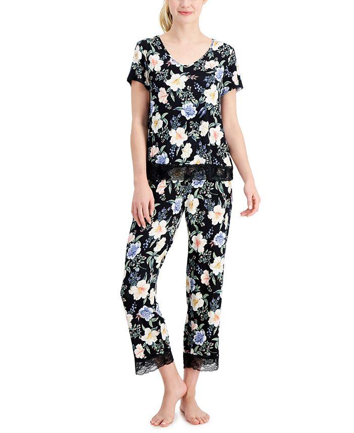 Charter Club Lace-Trim Printed Cropped Pajama Pants Set