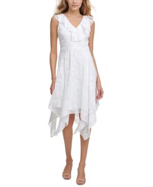 Burnout-Print Chiffon Midi Dress