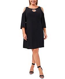 Plus Size Silver-Trim Cold-Shoulder Shift Dress