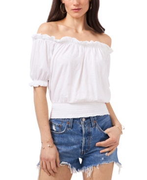 1.state COTTON OFF-THE-SHOULDER CROP TOP
