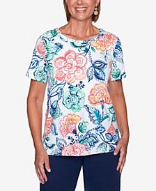 Plus Size Island Hopping Batik Flowers T-shirt