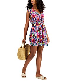 Juniors' Floral-Print Side-Tie Cover-Up Dress, Created for Macy's