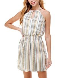 Striped Smocked-Waist A-Line Dress