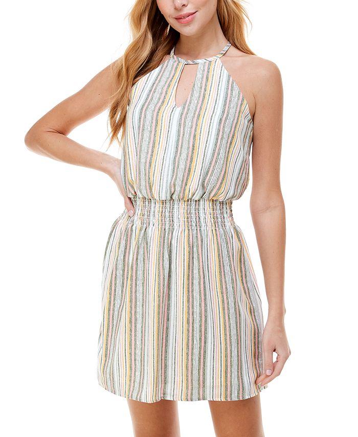 City Studios - Striped Smocked-Waist A-Line Dress