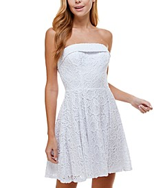 Juniors' Strapless Lace Fit & Flare Dress