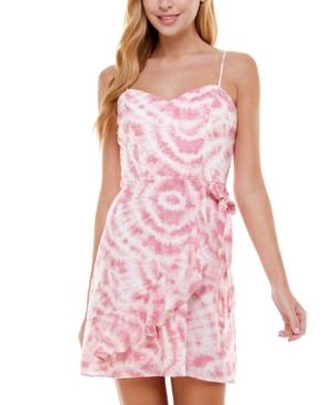 Juniors' Tie-Dyed Faux-Wrap Dress
