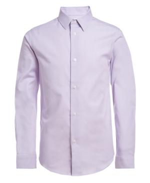 Calvin Klein Shirts BIG BOYS HUSKY LONG SLEEVE STRETCH BASKET STRIPE SHIRT