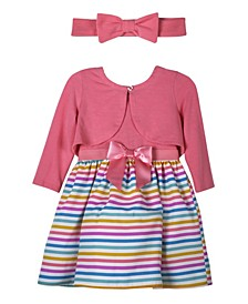 Toddler Girls Solid Cardigan and Printed Multi Stripe 3/4 Sleeves Dress with Bow Head Band